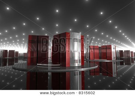 3D Burgundy Servers in Perspective 3D Render