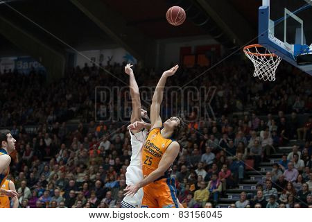 VALENCIA, SPAIN - FEBRUARY 15: Borousis (L), Loncar 25 during Spanish League match between Valencia Basket Club and Real Madrid at Fonteta Stadium on February 15, 2015 in Valencia, Spain