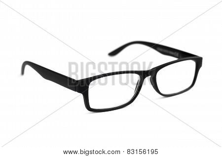 Black Eye Glasses Isolated On White Shallow Depth Of Field Soft Focus
