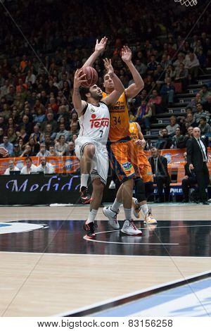 VALENCIA, SPAIN - FEBRUARY 15: Campazzo with ball during Spanish League match between Valencia Basket Club and Real Madrid at Fonteta Stadium on February 15, 2015 in Valencia, Spain