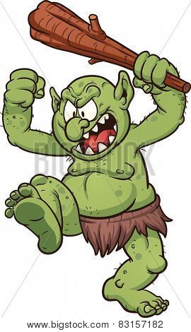Angry cartoon troll. Vector clip art illustration with simple gradients. Troll's pupils on a separate layer for easy editing.