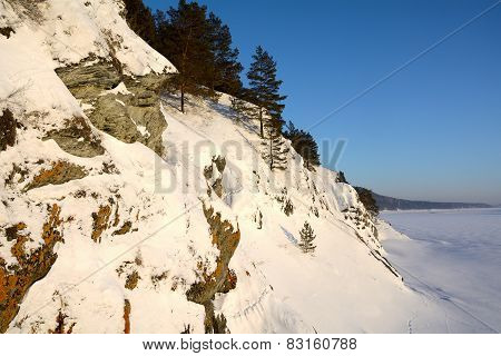 Rocky Shore Of A Frozen Siberian River Tom