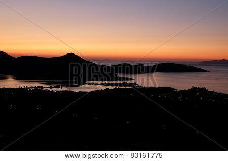 Sunrise Over Mediterranean Sea On Island Of Crete Greece