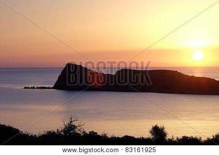 Sunrise Over Mediterranean Sea On Island Of Crete Greece