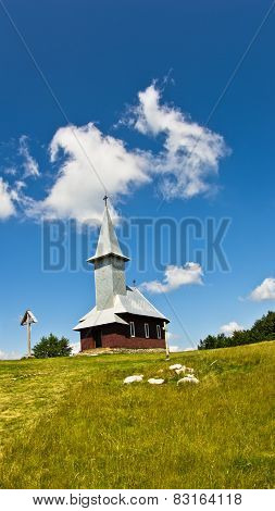 Church on a top of a hill at sunny summer day
