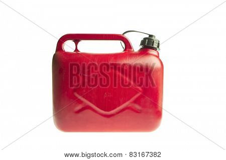 Red plastic fuel canister isolated on white