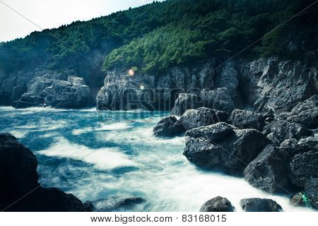 Mediterranean rocky shores and landscape - Odysseus cave on island Mljet near Dubrovnik