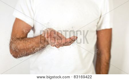 Close up Man in White Shirt with Conceptual Open Palm with Water Effect