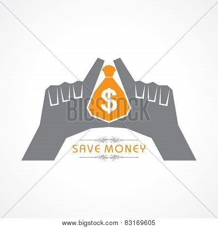 Save money concept - hands protecting bag of money vector illustration
