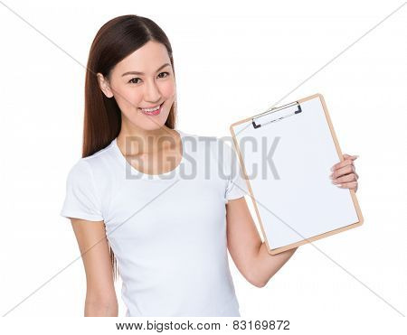 Woman show with clipboard
