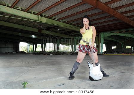 Grunge/Punk Rocker Girl with Guitar (5)