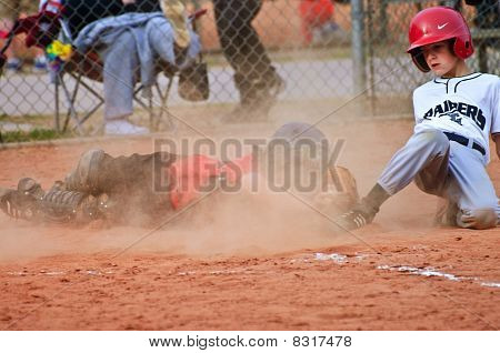 Youth Baseball Sliding Into Home
