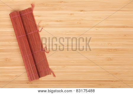 Japanese cooking mat over bamboo table with copy space