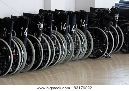 Wheelchairs at the airport terminal