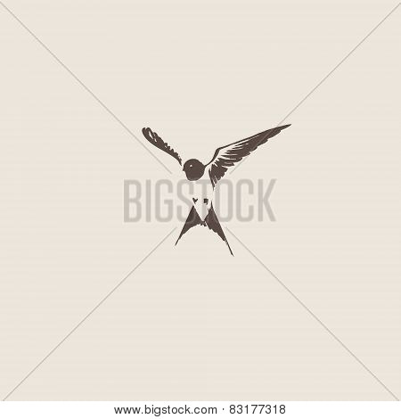 Hand drawn swallow vector illustration.
