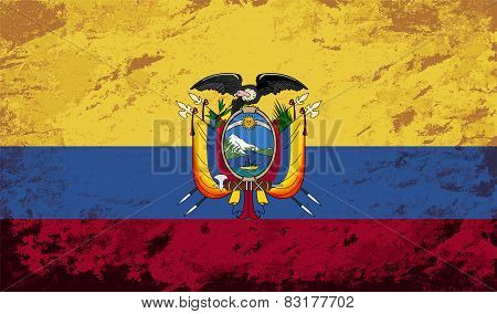 Ecuadorian flag. Grunge background. Vector illustration