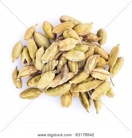 Cardamom Seeds Isolated On A White Background