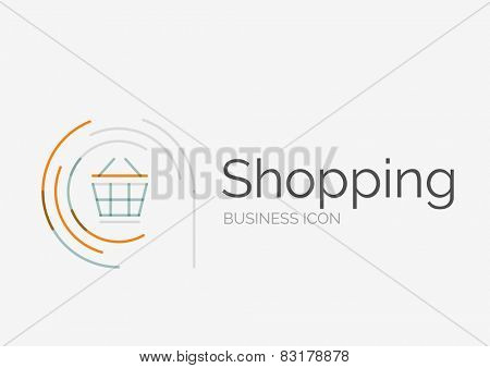 Thin line neat design logo, clean modern concept, shopping cart icon