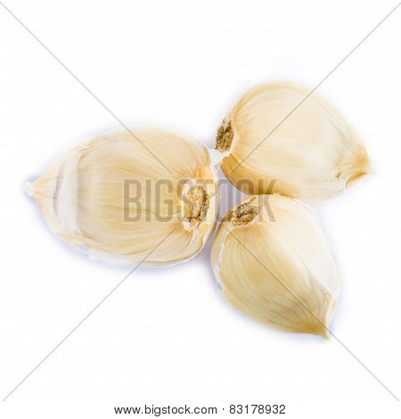 Garlic Cloves Isolated On A White Background