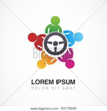 Vector Logo Design Template. Colorful People And Steering Wheel. Driver Icon, Social Network Concept
