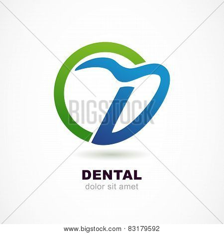 Vector Logo Design Template. Tooth Icon, Abstract Letter D Symbol. Dental Clinic, Medicine Concept