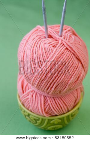 Hank Yarn Pink Skein Of Yarn And Knitting Needles