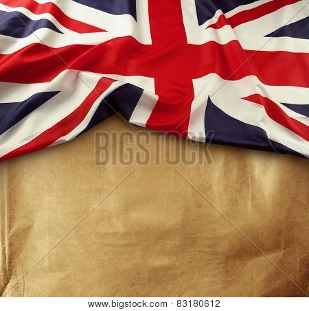 Union Jack flag on paper background
