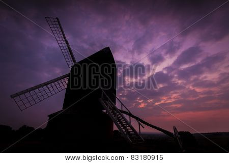 Brill Windmill Silhouetted Against The Twilight Sky