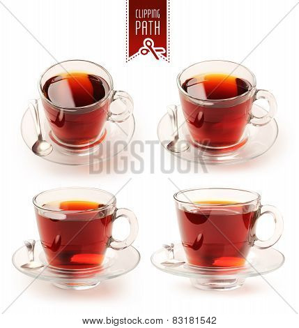Cup of black tea set with clipping path