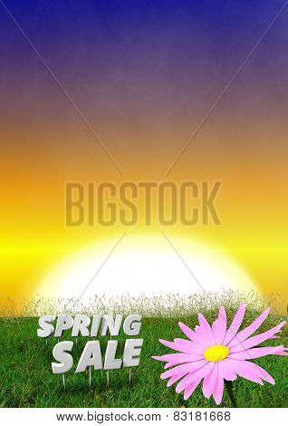 Spring background with early evening sky