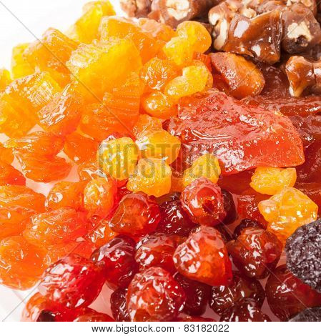 Candied red and yellow cherry, pumpkin pieces, plums, peaches