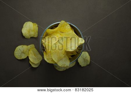 Pail full of crisps from above