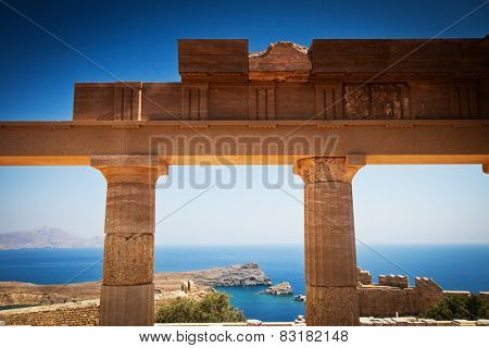 Lindos acropolis located in Rhodes Island Greece