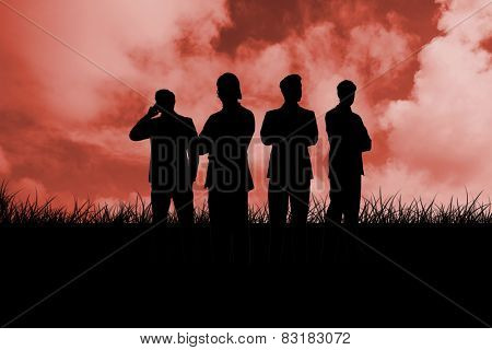 Silhouette of businessmen against red sky over grass