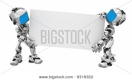 Blue Screen Robots, Carrying Sign
