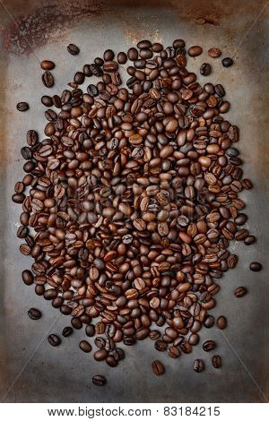High angle shot of fresh roasted coffee beans ion a metal baking sheet. Vertical format.