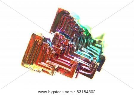 Color Bismuth Crystal Isolated