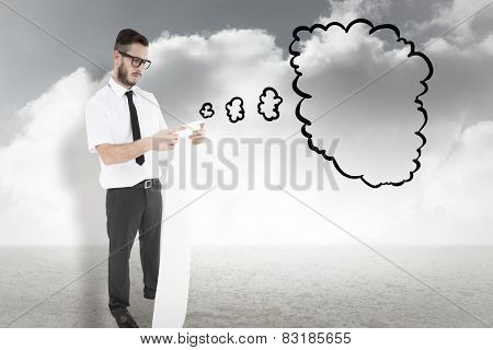 Geeky young businessman reading long receipt against cloudy sky background