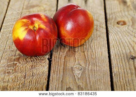Nectarines On Wood
