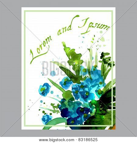 Illustration with flowers forget-me-painted watercolors
