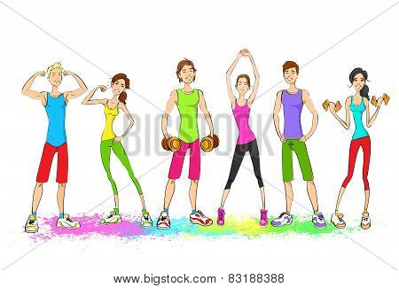 Group of young sport people, colorful clothes man and woman fitness trainer, bodybuilder athletic mu