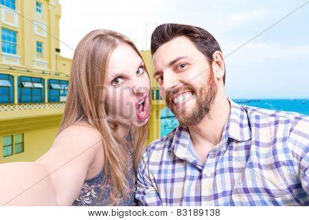 Beautiful Couple taking a selfie photo in Bahia, Brazil