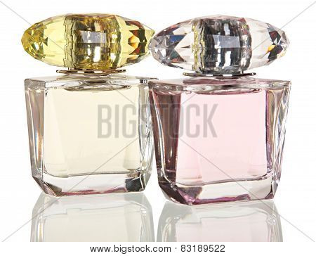 glass bottles of perfume isolated on  white background. Photography Studio.