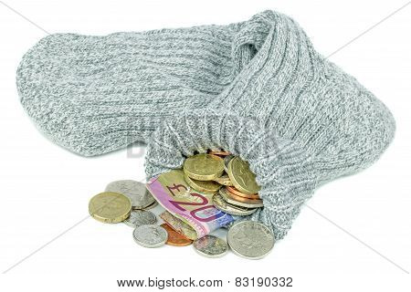 British Money in an Old Sock