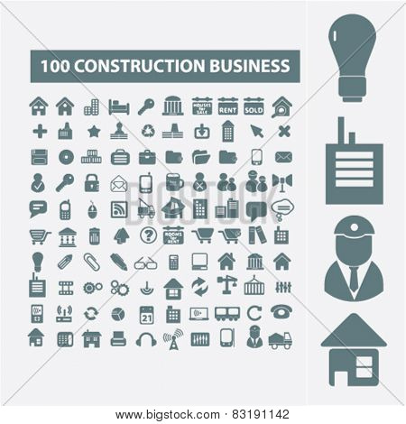 construction, real estate, architecture isolated flat icons, signs, symbols illustrations, images, silhouettes on background, vector