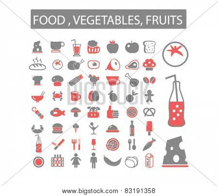 cafe, restaurants, grocery concept - flat isolated icons, signs, illustrations set, vector