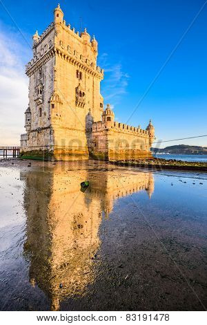 Belem Tower in Belem, Lisbon, Portugal.