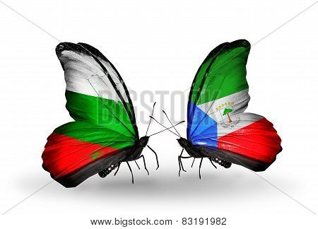 Two Butterflies With Flags On Wings As Symbol Of Relations Bulgaria And Equatorial Guinea