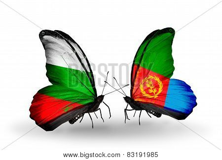Two Butterflies With Flags On Wings As Symbol Of Relations Bulgaria And Eritrea
