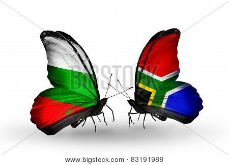Two Butterflies With Flags On Wings As Symbol Of Relations Bulgaria And South Africa